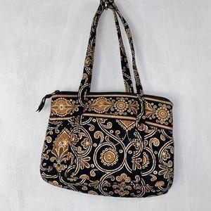 Vera Bradley Brown and Black Quilted Satchel Bag